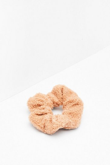 Camel Shearling It Over Scrunchie