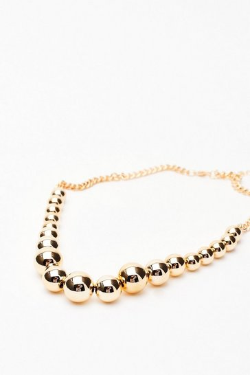 Gold The Balls in Your Court Chunky Beaded Necklace