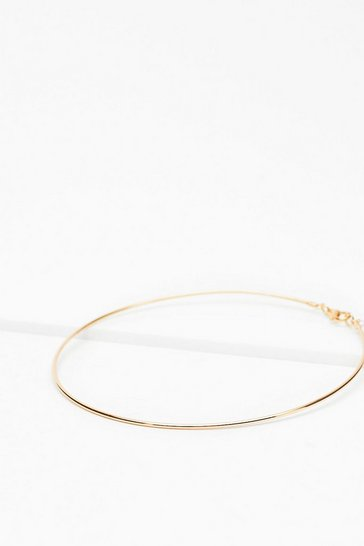 Gold Thin Delicate Circle Necklace