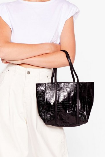 Black WANT Croc to Stick Together Tote Bag