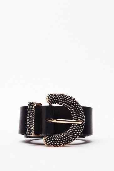 Black Hammer It Out Semi-Circle Buckle Belt