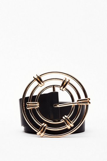 Black Through the Wire Circle Buckle Belt