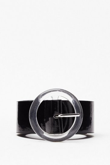 Black Crystal Clear Round Buckle Belt