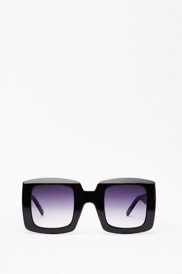Black Caught in the Act Thick Square Sunglasses