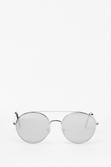 Silver 'Round About Now Aviator Sunglasses