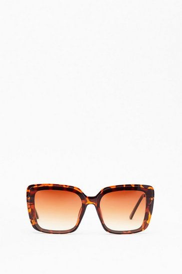 Brown Leopard Print Square Sunglasses