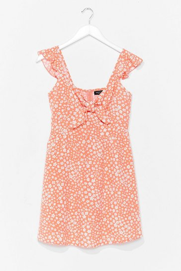 Coral Plant Shake the Feeling Floral Mini Dress