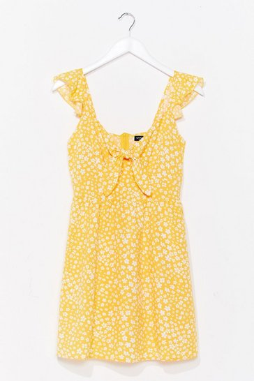 Yellow Plant Shake the Feeling Floral Mini Dress