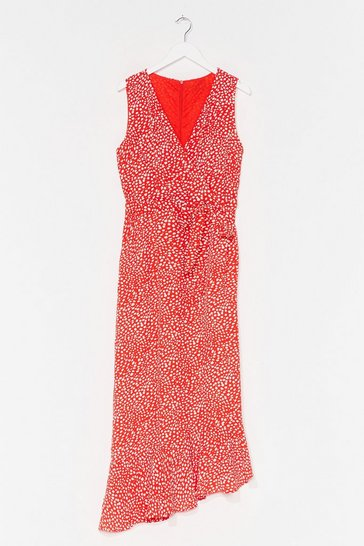 Orange ASYMMETRIC HEM MAXI DRESS