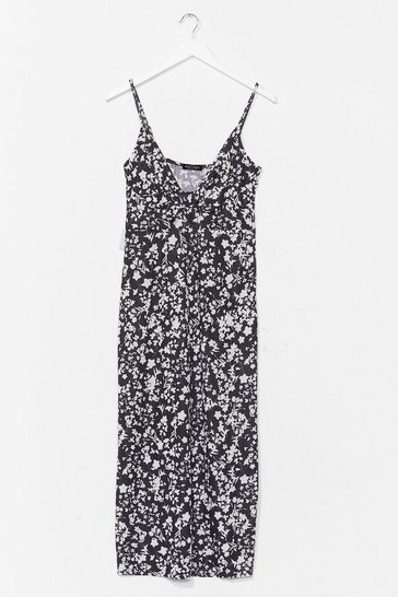 Black Just Growing With It Floral Midi Dress