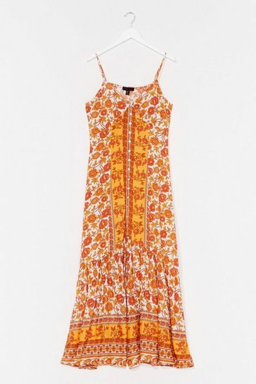 Orange Floral V Neck Strapless Maxi Dress