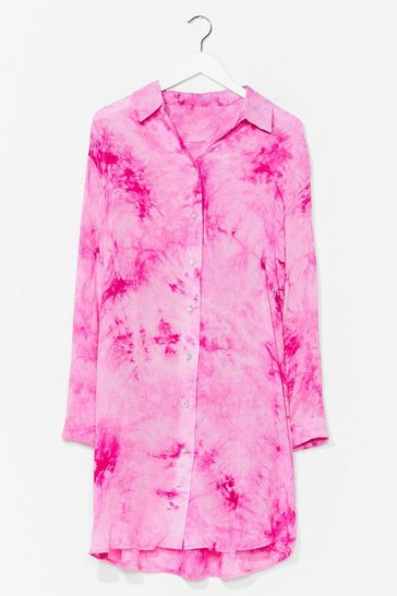 Pink Cause a Stir Tie Dye Shirt Dress
