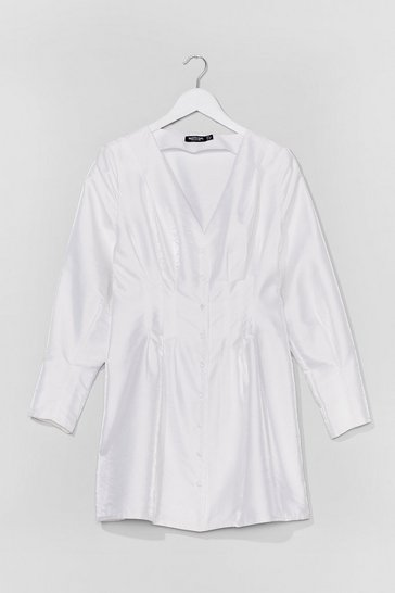 White Shimmer Over Here Mini Shirt Dress