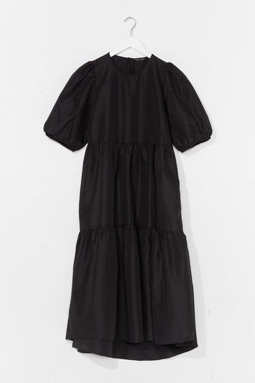 Black Smock It to 'Em Puff Sleeve Midi Dress