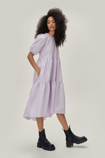 Lilac Puff Sleeve Crew Neck Tiered Midi Dress