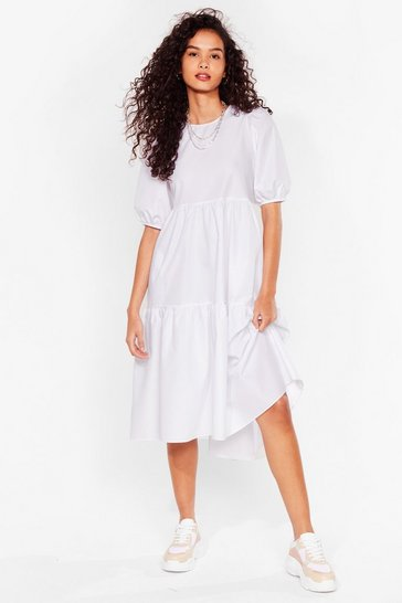 White Puff Sleeve Crew Neck Tiered Midi Dress