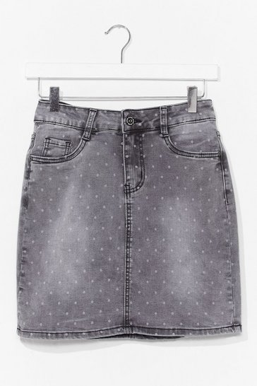 Grey Polka Dot Denim Mini Skirt