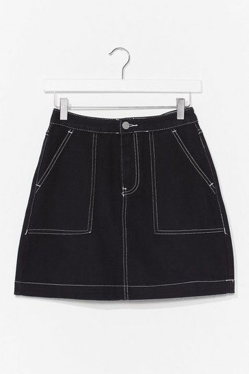 Black Stitch Denim Mini Skirt