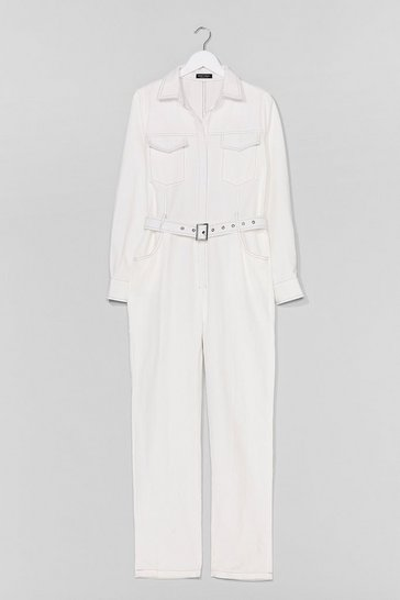 White Stitch Detail Denim Jumpsuit Boilersuit