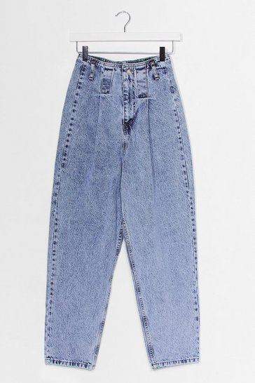 Blue Pleat High Waist Barrel Leg Jean
