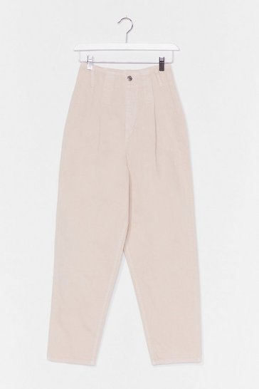 Cream Pleat High Waist Barrel Leg Jean