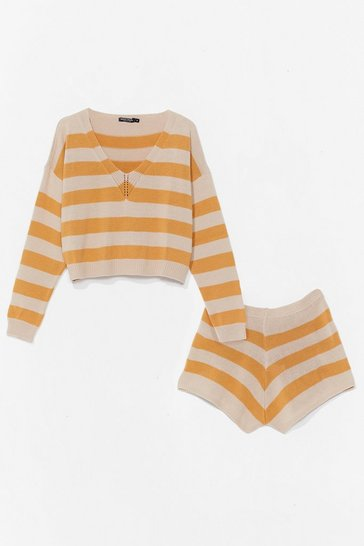 Mustard Striped Knitted Shorts Loungewear Set