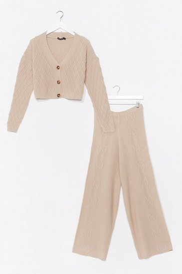 Oatmeal Here's to Us Knitted Wide-Leg Lounge Set