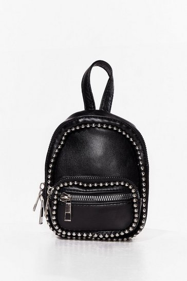Black PU Studded Mini Backpack