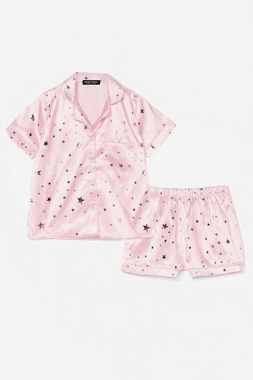 Pink Sing Me a Lullaby Satin Shirt and Shorts Pajama Set