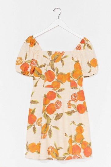Lemon Orange You Happy to See Me Puff Sleeve Mini Dress