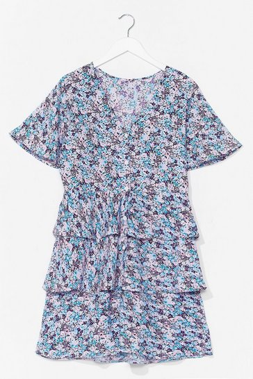 Blue No Tiers Over You Floral Mini Dress