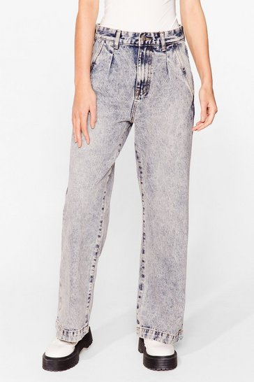 Vintage blue Acid Wash What Happens Relaxed Jeans