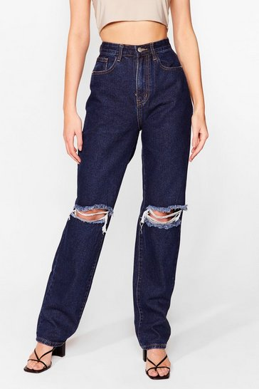Indigo Don't Distress Me Out Straight Leg Jeans
