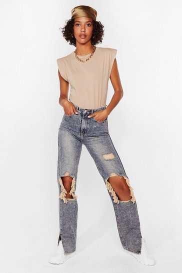 Vintage blue Ripped Split Hem Straight Leg Jeans