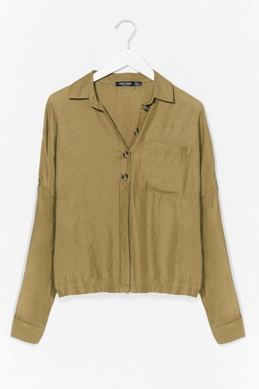 Khaki Put a Drop to It Oversized Shirt