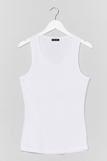White Totally Invested Jersey Tank Top