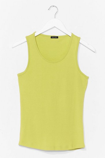 Lime Totally Invested Jersey Tank Top
