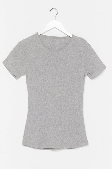 Grey Crew Neck Fitted T-Shirt