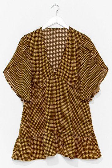Yellow Gingham Your Attention Ruffle Mini Dress