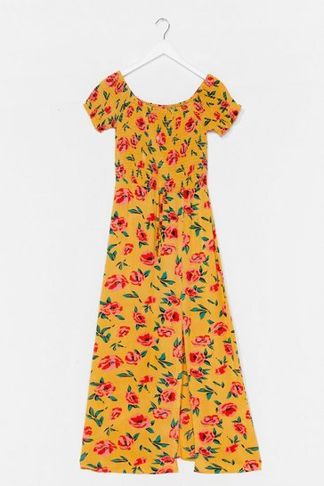 Yellow Floral Shirred Puff Sleeve Maxi Dress