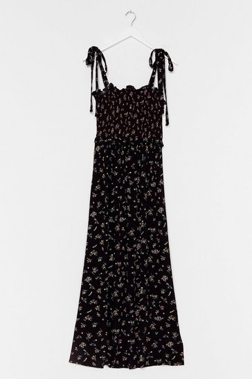 Black Good Growing Floral Maxi Dress