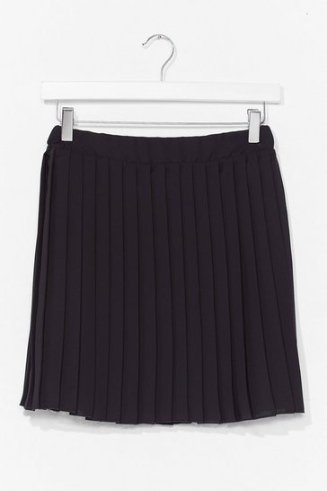 Black Pleat Don't Go High-Waisted Mini Skirt