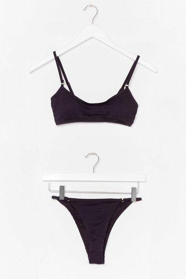 Black To the Touch Textured High-Leg Bikini Set