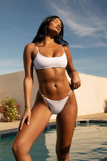 White Ruched Textured Bikini Set