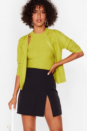 Lime Cards on the Cable Knit Cardigan and Top Set