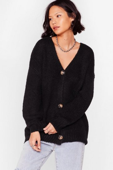Black A Soft Centre Oversized Cardigan