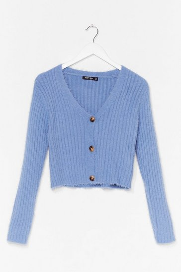 Blue Button-Down for Whatever Fluffy Knit Cardigan