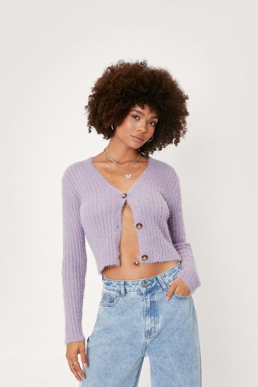 Lilac Fluffy Knit Button Up Cardigan
