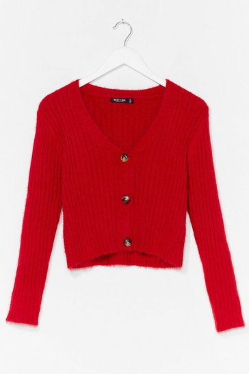 Red Button-Down for Whatever Fluffy Knit Cardigan