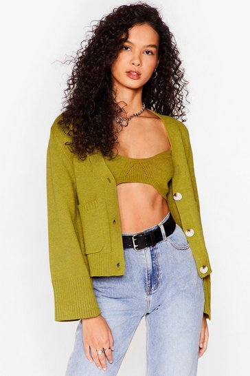 Green Strike a Match Knit Crop Top and Cardigan Set